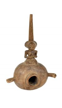 Luba Smoking Pipe Female Figure Congo African Art