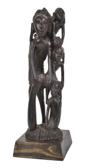 Makonde Abstract Carving with Figures Ebony Tanzania African Art