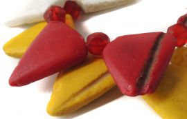 Bohemian Trianglular Trade Beads Red And Yellow Africa