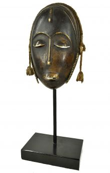 Dogon Bronze Cast Mask With Custom Stand Mali African Art Collection