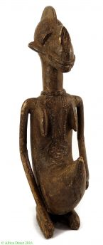 Dogon or Bamana Brass Kneeling Male Mali African Art