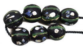 7 Ghost Venetian Trade Beads African Black Loose