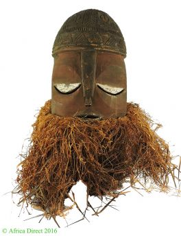 Suku Helmet Mask with Red Pigment Face Raffia Congo African Art
