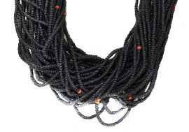 Baule Tamba Necklace 50 Strands Black Seed Beads African