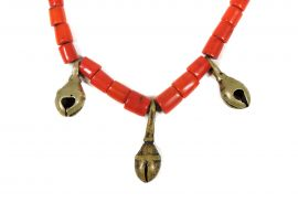 Old Naga Sherpa Coral Brass Bells Necklace India 20 Inch