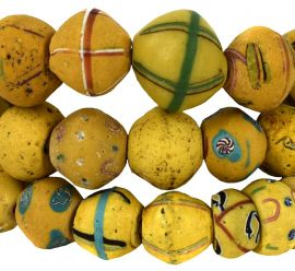 King Venetian Trade Beads Yellow Mixed African 31 Inch