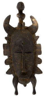 Senufo Kpelie Mask with Bird Cote D'Ivoire African Art