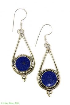 Earrings Silver Lapis Insets Afghanistan
