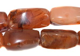 Carnelian Stone Trade Beads Faceted Rectangles African