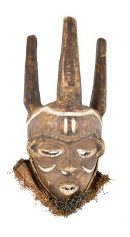 Pende Mask Wood Three Posts Congo African Art REPAIRED
