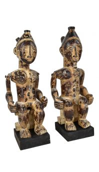 Attye Seated Figures Pair Movable Appendages Lagoon Custom bases African Art