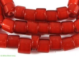Czech Whitehearts Red Trade Beads Flat Ended African