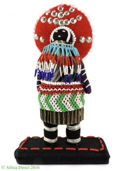 EPRICE?Zulu Beaded Doll with Red Headdress South African Art