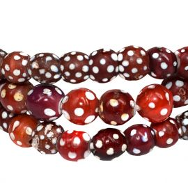 Skunk Venetian Trade Beads Red with White Dots Africa 30 Inch