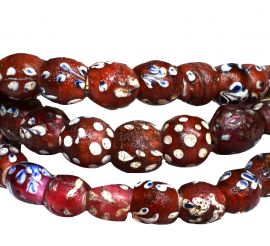 Red Whitehearts Venetian Trade Beads Floral Africa