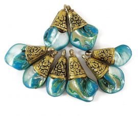 8 Tibetan Pendants Mother of Pearl Blue Brass Repoussee Loose