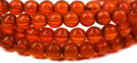 Red Round Glass Trade Beads Translucent African 30 Inch