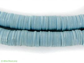 "Vulcanite ""Vinyl"" Heishi Trade Beads Light Blue Africa 36 Inch"