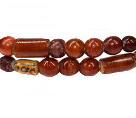 Cornaline d'Aleppo Venetian Trade Beads Cylinders Mixed Strand