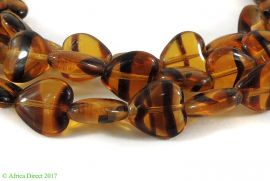 Translucent Heart Beads Amber Color Africa 33 Inch