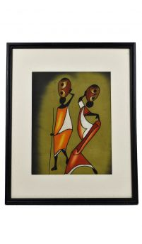 E-PRICE? Framed Batik Kenya Green African Art