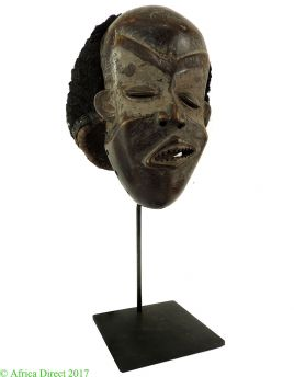 Pende Deformity Mask with Hood and Custom Base Congo African Art