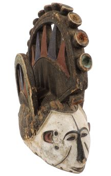 Igbo Mask Two Heads with Headcrest Nigeria African Art