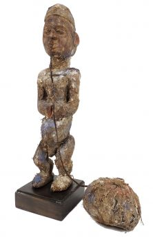 Igbo Standing Fetish Figure Attached Ball Nigeria African Art