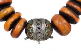 Moroccan Necklace Amber Color Beads Africa 36 Inch