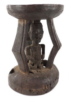 Chokwe Caryatid Figural Stool Angola Congo African Art Collection