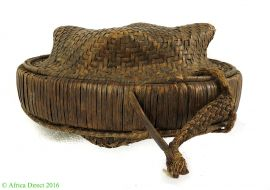 Lidded Kuba Basket Brown Handwoven Congo African Art