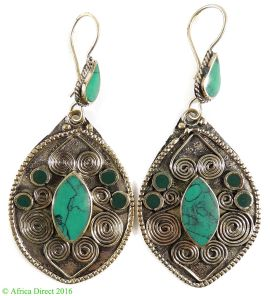 Earrings Silver Turquoise Insets Afghanistan