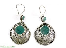 Earrings Silver Round Turquoise Insets Afghanistan
