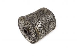 Tibetan Silver Repoussee Beads Barrel Loose