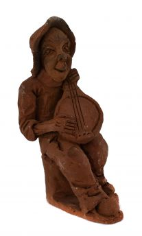 Clay Figure Man Playing Stringed Instrument Malawi African Art