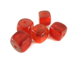 "5 ""Cherry Amber"" Colored Cube Beads Africa Loose"