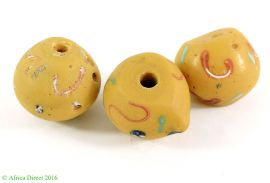 3 King Venetian Trade Beads Yellow Biconal Africa Loose